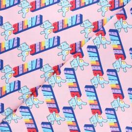 Cotton fabric - pink Bisounours believe x 10cm