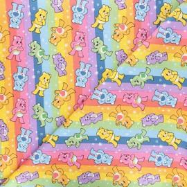 Tissu coton Bisounours rainbow - multicolore x 10 cm