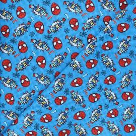 Tissu coton Marvel Comics action Spiderman - bleu x 10 cm