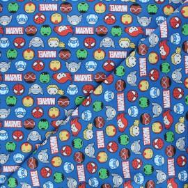 Tissu coton Marvel Comics action team - bleu x 10 cm