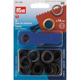 10 eyelets with washers 14mm + tool - black