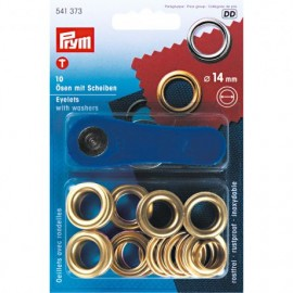 10 eyelets with washers 14mm + tool - golden
