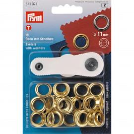 Oeillets avec rondelles 11mm doré + outil