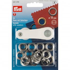 15 eyelets with washers 11 mm + tool - silver