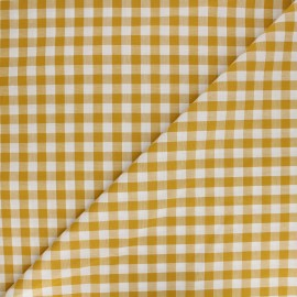 Large checked gingham fabric - mustard yellow x 10cm