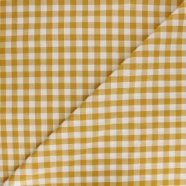 Tissu Vichy grands carreaux - jaune moutarde x 10cm