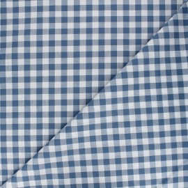 Large checked gingham fabric - blue x 10cm