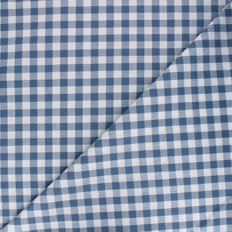 Tissu Vichy grands carreaux - bleu x 10cm