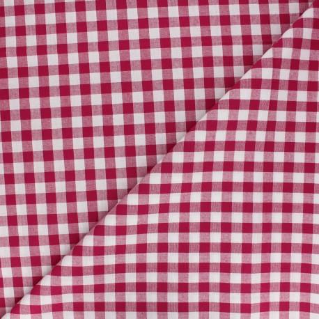 Tissu Vichy grands carreaux grenat x 10cm