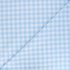 Tissu Vichy grands carreaux ciel x 10cm