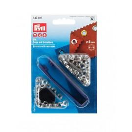Oeillets avec rondelles 4mm argenté + outil