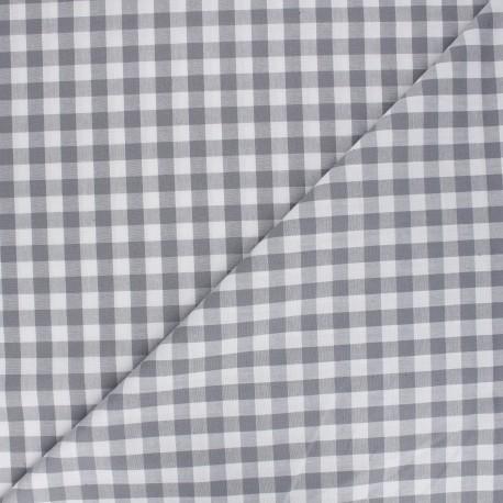 Big checked Vichy fabric - grey/taupe x 10cm