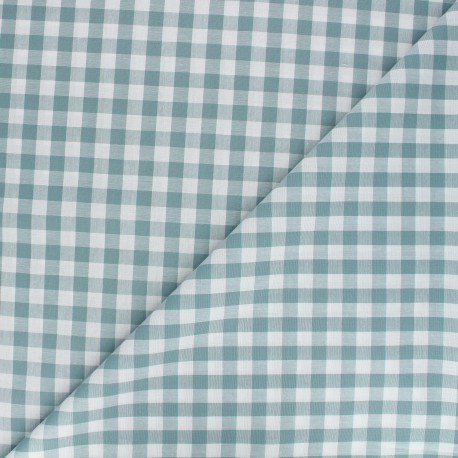 Tissu Vichy grands carreaux - vert lichen x 10cm