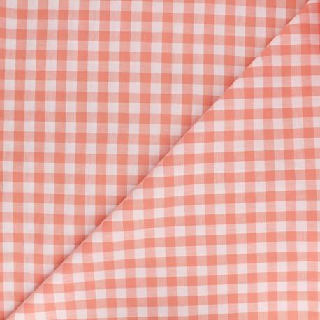 Tissu Vichy grands carreaux pêche x 10cm