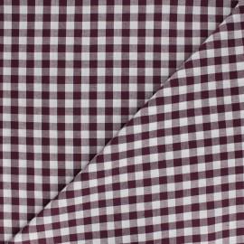 Tissu Vichy grands carreaux - Aubergine x 10cm