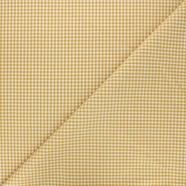 Small checked gingham fabric - mustard x 10cm
