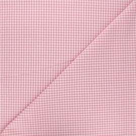 Small checked gingham fabric - Baby Pink x 10cm
