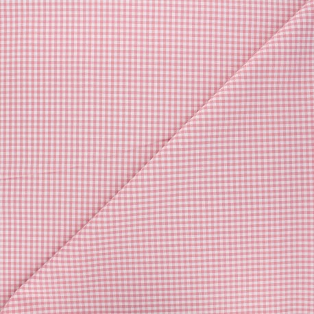 Tissu Vichy petits carreaux - rose dragée x 10cm