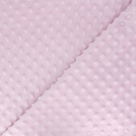 Tissu Velours minkee doux relief à pois rose x 10cm