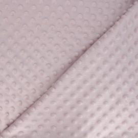 Tissu Velours minkee doux relief à pois rose brumeux x 10cm