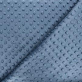 Tissu Velours minkee doux relief à pois - bleu ardoise x 10cm
