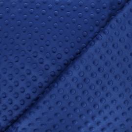 Tissu Velours minkee doux relief à pois - bleu roy x 10cm
