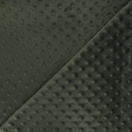 Minkee velvet fabric dot - dark olive green x 10cm
