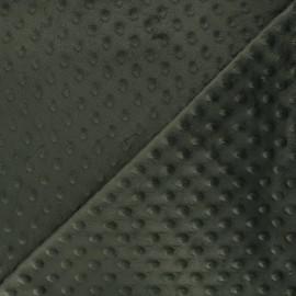 Tissu Velours minkee doux relief à pois - vert olive foncé x 10cm