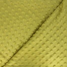 Tissu Velours minkee doux relief à pois - jaune vert x 10cm