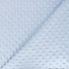 Tissu Velours minkee doux relief à pois - bleu clair x 10cm