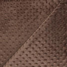 Tissu Velours minkee doux relief à pois - café x 10cm