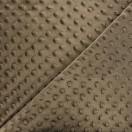 Tissu Velours minkee doux relief à pois châtain x 10cm