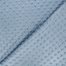 Tissu Velours minkee doux relief à pois - bleu gris x 10cm