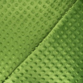 Tissu Velours minkee doux relief à pois - vert olive x 10cm