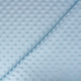 Tissu Velours minkee doux relief à pois Oeko-tex - bleu ciel x 10cm