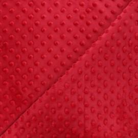 Soft  relief minkee velvet Fabric - Red dots x 10cm