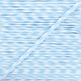 Cordon spaghetti Vichy 6 mm - bleu ciel x 1m