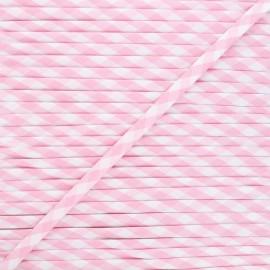 Cordon spaghetti Vichy 7 mm - rose x 1m