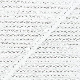 15mm Elastic lace ribbon - white Romance x 1m