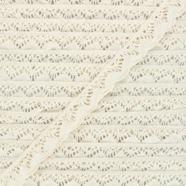 22 mm Elastic lace ribbon - raw Romanza x 1m