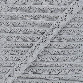 22 mm Elastic lace ribbon - grey Romanza x 1m