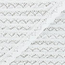 22 mm Elastic lace ribbon - white Romanza x 1m
