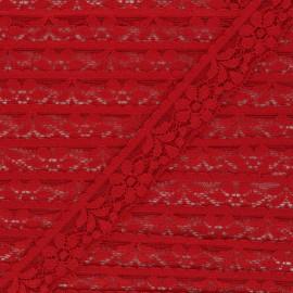 Ruban dentelle élastique 26 mm - rouge x 1m