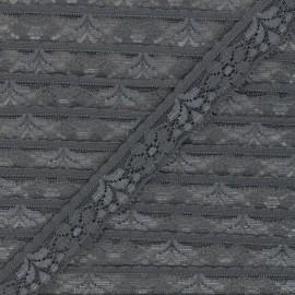 Ruban dentelle élastique 26 mm - gris x 1m
