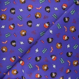 Tissu coton Harry Potter Golden trio - violet x 10 cm
