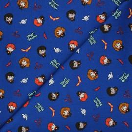 Tissu coton Harry Potter Golden trio - bleu x 10 cm