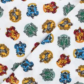 Tissu coton Harry Potter Les 4 maisons - blanc x 10 cm