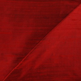 Wild Silk Fabric - Carmine Red x 10cm