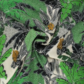 Viscose fabric - green Jungle paradise x 10cm