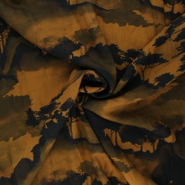 Viscose fabric - brown Ink forest x 10cm